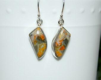 Bumblebee Jasper Earrings, Yellow Black Orange, Sterling Silver, Natural Gemstone, Bumblebee Dangles