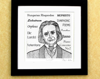 Franz LISZT - a portrait art print of the great Hungarian composer and pianist