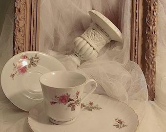 Vintage mismatched china tea set,  rose design luncheon snack plate with tea cup, rose design tea set, Shabby tea sets , tea party (1 Set)B1