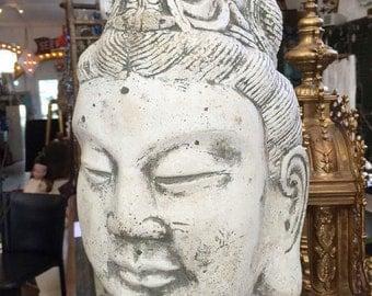 C. 30s Kuan Jin Vintage Cement Garden or Altar Statuary Bust Striking!