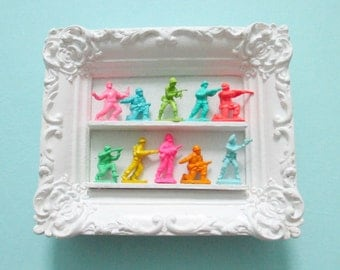 Bright Mini Army Men Display - Tropical color hanging wall art - Tiny ornate frame