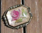 Rare Pink Rose Goofus Glass Brooch with French Paste Stones