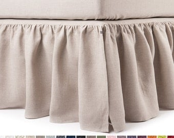Linen dust ruffle Queen bedskirt King bed skirt Double size bedskirts Twin or full Custom color and length linen bedding