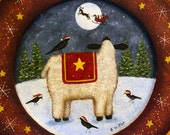 Folk Art Christmas Original Hand Painted Wood Plate - READY TO SHIP- Winter Scene, Sheep,Crows Watch Santa and Reindeer Flying Through Sky