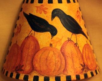 Folk Art Halloween Night Light -  MADE TO ORDER - Primitive Hand Painted Black Crows sitting on Orange Pumpkins,Autumn Leaves,