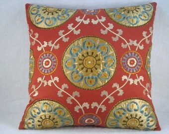 Decorative Accent Embroidered Red Medallion Pillow 18x18 Pillow Cover