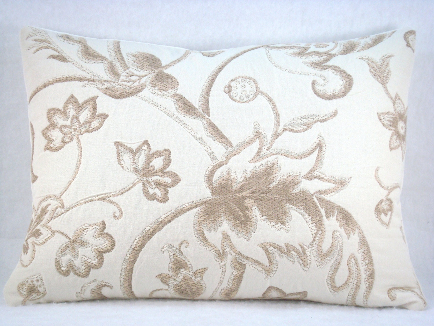 Embroidery Cream Decorative Pillows : Embroidered Cream and Taupe Decorative Accent Lumbar Pillow