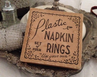 Vintage Set of Old Lucite Napkin Rings In Box