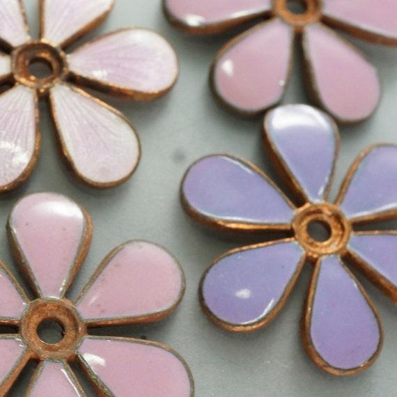 4 ENAMEL flowers . blank stampings pink . finding No.00842
