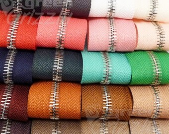 5m Continuous metal chain zip zipping upholstery No.5 range of colours AQY+AQX