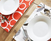 Reversible Placemats - White with Leaves and Orange with White Circles