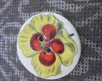 Bright Red Yellow Flower Motif Ceramic Button