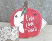 Personalized Teacher Gift Apple Salt Dough Ornament Thank You Appreciation Gift