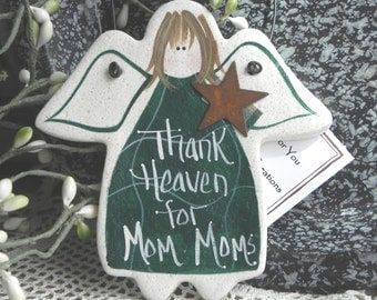 Mom Mom Gift Salt Dough Angel Ornament