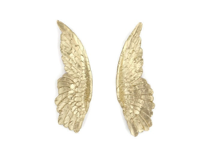 Gold angel wings angel wing wall decor sympathy by nearanddeer for Angel wings wall decoration