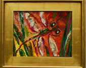 Dragonfly Art- Original Oil Painting -  Small  palette knife painting - Bright Original Whimsical Nature  Painting by  Claire McElveen