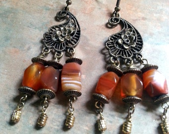 Beautiful Carnelian Dangle Earrings