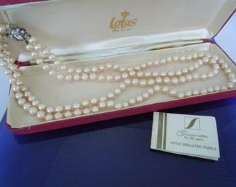 Vintage Two Strand Lotus Simulated Pearls with Original Presentation Box