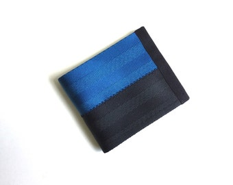 Vegan Wallet in Black and Blue - Seatbelt Wallet