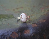 Beautiful Vintage Italian Hand Carved Shell Cameo Bezel Setting Sterling Silver Ring Custom Size Made to Order