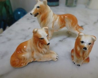 Vintage Collie Dog Figurines Set