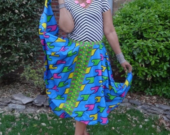 High low hem adjustable waist Ankara wax skirt