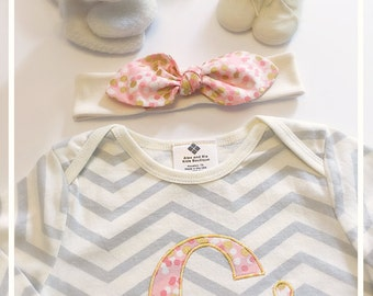 Personalized Chevron Baby Bodysuit and Top Knot Headband Set , Gold Coral Peach , Baby Shower Gift , Photo Prop