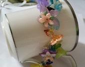 Beaded flower garden bracelet, handmade, colorful, spring, unique flowers