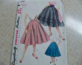 1955 Simplicity 1087 Waist 30 Misses Skirt Sewing Pattern Supply Swing Skirt Misses Skirt Pattern Rockabilly 50s Rare Pattern c