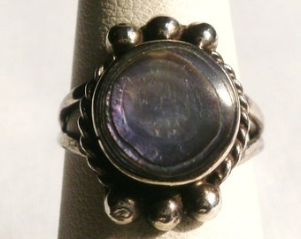 Sterling Silver Abalone Ring-Size 6