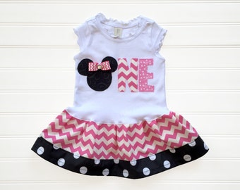 Girls Custom Mouse Number Dress ONE Birthday Outfit Kids Girl Clothing Baby Toddlers Dress size 6 12 18 24 Months Girls 2 3