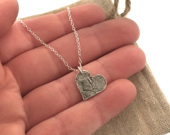 DOG PAW PRINT, nose print heart charm necklace, custom dog print, dog or puppy nose print keepsake in pure, .999 fine silver
