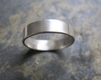 Men's thick silver band ring - Men's thick wedding band ring