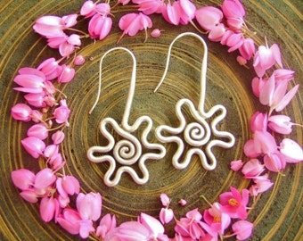 Silver Earrings - The Spiral Flowers