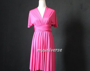 Rose Pink Bridesmaid Dress Wrap Infinity Dress Convertible Dress Formal Evening Gown