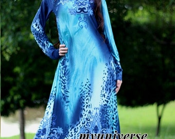 Long Sleeves Dress Blue Dress Maxi Dress Dress Party Coast Leopard Print Summer