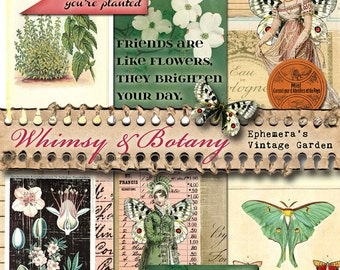 Whimsy & Botany - Printable Journal/Collage Art Bits
