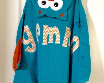 Owl Personalized Hooded Towel