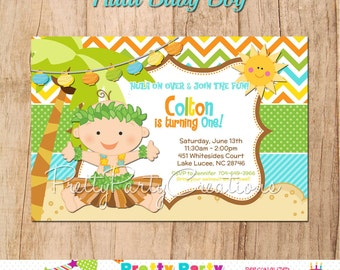HULA BABY BOY invitation - you print - with or without photo