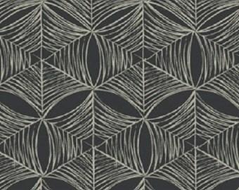 "Fabric 1 Yard Home Decorating Curious Nature SPIDER WEB BlackTan Tailcoat David Butler 54"" WIDE"