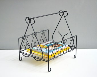 Mid-Century Wrought Iron Magazine Rack