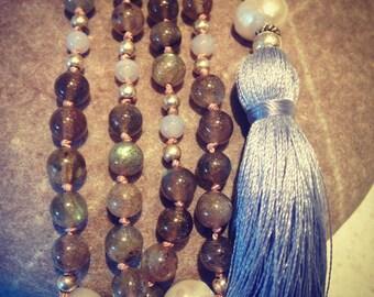 Tincture - labradorite grey blue silk tassel necklace