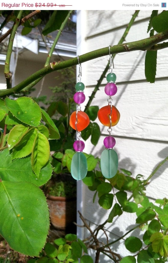 SUMMER SALE Mint Hot Purple and Orange Sea Glass by SmithNJewels