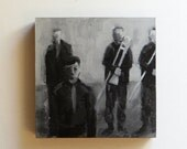 Acrylic Painting of Military Musicians - Black and White Original Art - Size 8x8 - Framed Grayscale Contemporary Artwork