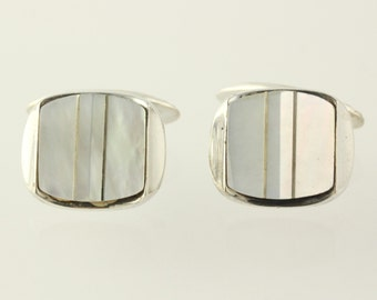 White Mother of Pearl Cuff Links - 800 Silver Vintage Men's Estate MOP h9639