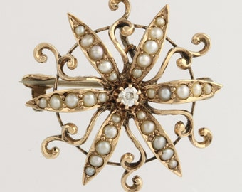 Edwardian Diamond & Seed Pearl Brooch - 10k Yellow Gold Convertible Fine .04ctw L2608