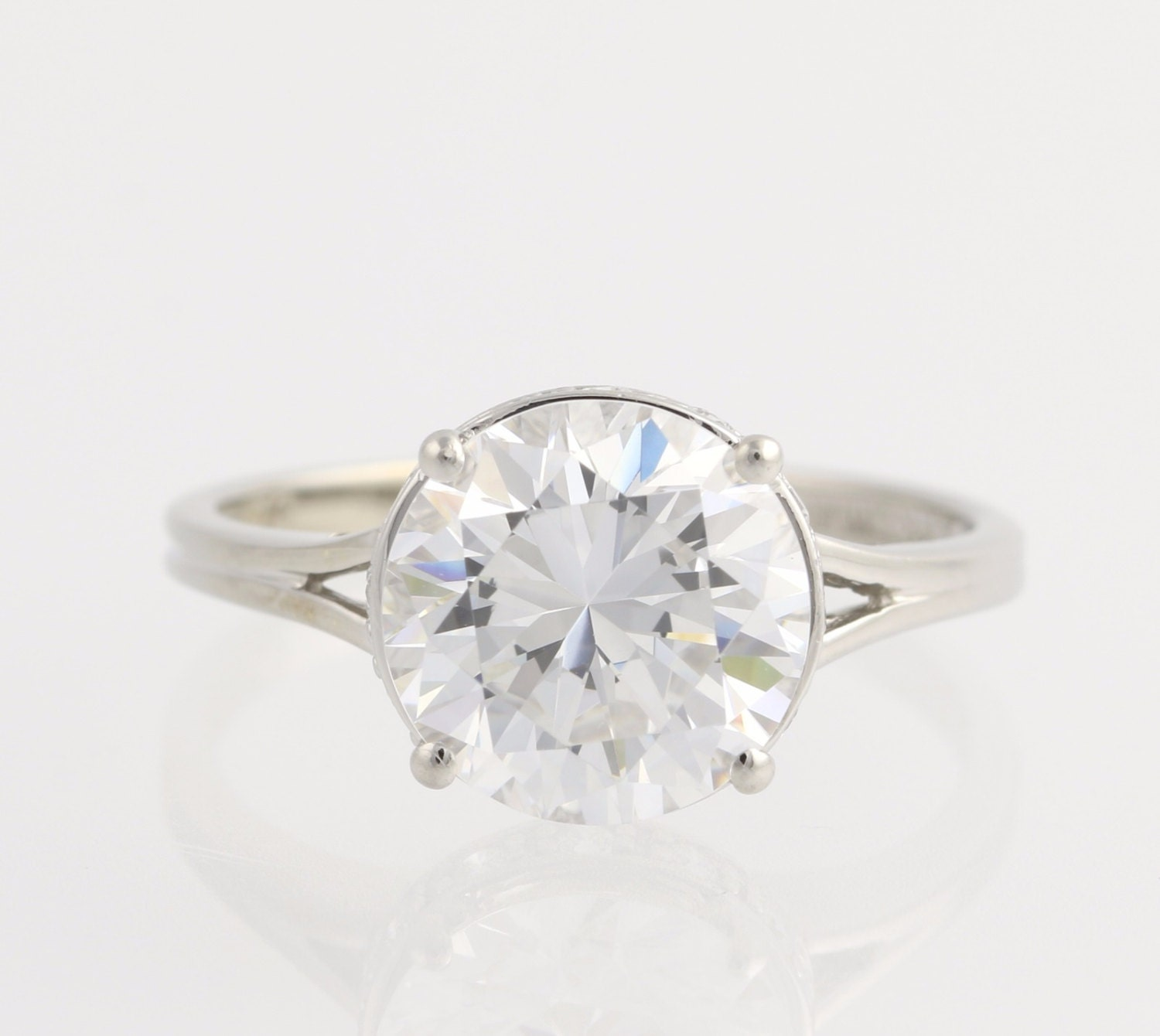 engagement ring cubic zirconia 14k white gold by