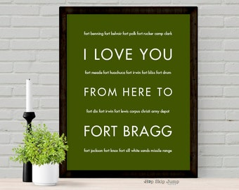 Army Gift for Wife Parents, Deployment Sign, Retirement Keepsake, I Love You From Here To FORT Bragg, Free U.S. Shipping