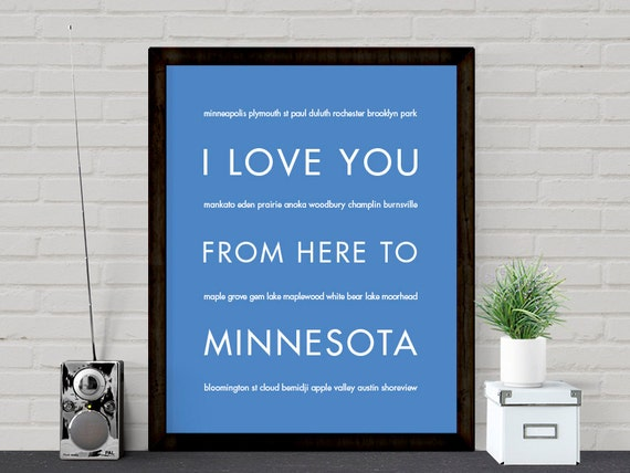 Minnesota State Art, I Love You From Here To MINNESOTA, Choose Color Canvas Frame Travel Poster