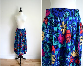 Vintage royal blue and bright floral midi skirt / high waisted colorful skirt / deadstock